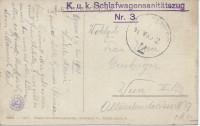 Feldpost 1. WK: K.u.K. Schlafwagensanitätszug Nr. 3 ( Agram Zagreb ) auf AK.1918  ( 36 )