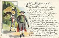 Deutschland: Gruss aus dem Schwarzwald Litho 1897 2 Bauern in Tracht n Karlsruhe