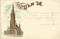 Deutschland: Gruss aus Ulm Litho 1897 an Bernhard ( Berti ) Tittel ( Komponist )