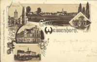 Deutschland: Gruss aus Weissenhorn Litho 1897 Bräuhaus, Volksbad, Thor usw.
