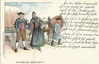 Deutschland: Gruss aus Schwaben - Schwäbische Volkstracht Litho 1897 Trachten