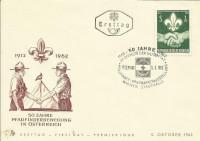 FDC: Nr: 1153: 50 Jahre Pfadfinder Bewegung in Österreich 1962 Schmuckkuvert