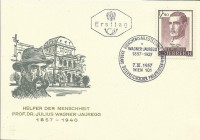 FDC: Nr: 1041 7.3.1957 100 Geburtstag von Prof. Dr. Julius Wagner Jauregg Merkur