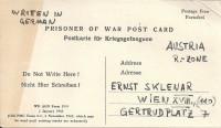 Kriegsgefangenenpost 1945 Amtlicher Vordruck von Naples Italy nach Wien  ( 57 )