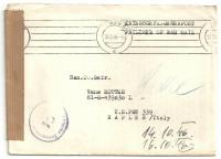 Kriegsgefangenenpost 1946 über Wien 68 nach Naples Italy mit Zensur   ( 67 )