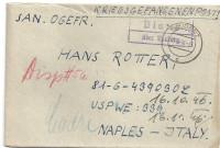 Kriegsgefangenenpost 1946 über Bludenz mit Postablage nach Naples Italy  ( 68 )