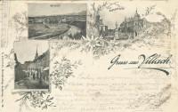 Kärnten: Gruß aus Villach 1897 Gasserplatz an Bernhard Tittel ( Dirigent ) gel.