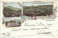 NÖ: Gruß aus Sulz Stangau bei Kaltenleutgeben Litho 1897 Wasserheilanstalt usw