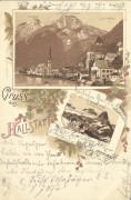 OÖ: Gruß aus Hallstatt Litho 1897 Simony Hütte, Gwölferkogl, Hirlatz usw.