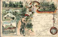 Steiermark: Gruß aus Graz Litho 12. Bundestag August 1895 Fahrrad Fahrer usw.