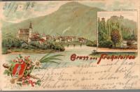 Steiermark: Gruß aus Frohnleiten Litho 1895 Ruine Pfannberg Edelweiss usw.