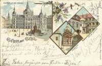 Steiermark: Gruß aus Graz Litho Mausoleum 1898 an Bernhard Tittel ( Komponist )