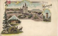Steiermark: Gruß aus Mariazell Litho 1902 Schutzhaus Bürgeralpe, Hirsche usw...