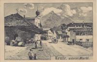 Tirol: Gruß aus Reutte ( unterer Markt ) 1918 ( herrliche Kunstkarte E. Felle )