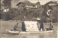 "Tirol: Gruß aus Wörgl Nazi Propaganda Ruderboot Wörgl Wien ""Adolf"" SA mit Fahnen 30er Jahre"