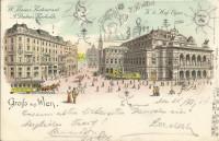 Wien I : Gruß aus Wien Litho 1897 A. Drehers Bierhalle Restaurant, K.k. Oper
