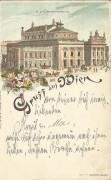 Wien I : Gruß aus Wien Litho 1897 Hofburgtheater an Bernhard Tittel / Komponist