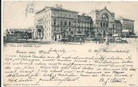 Wien II: Gruß vom Nordwestbahnhof 1899 mit Strassenbahnen usw.