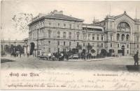 Wien II: Gruß vom Nordwestbahnhof Bahnhof 1901 mit Fuhrwerken usw..