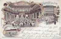 Wien VIII: Gruss aus Wien Litho 1900 Zum grünen Thor Konzert und Ballsaal usw..