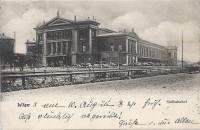 Wien X: Gruß vom Südbahnhof Bahnhof 1903 mit Fuhrwerken usw.