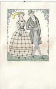 Wiener Werkstätte Postkarte Nr: 708 Biedermeier Paar Fritzi Löw