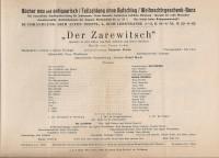 Der Zarewitsch ( Franz Lehar ) Jan Kiepura, Marta Eggerth, Josef Menschik ( Theater Programm )