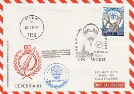 66 Ballonpost Wien 261181 D Ergee Vii Brief Norm Postweg