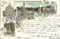 Deutschland: Gruss aus Memmingen Litho 1897 Rathaus, Marktplatz, Bahnhof .