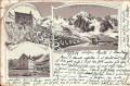 Italien: Gruß aus Sulden Litho 1898 Berghütten - Payerhütte, Schaubachhütte usw