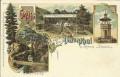 NÖ: Gruß aus Alaunthal bei Krems Litho 1898 Josef Schönbergers Gasthaus