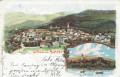 NÖ: Gruß aus Aspang NÖ. Litho 1898 nach Baden NÖ. Am Teich Stadt Panorama usw