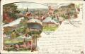 NÖ: Gruß aus Baden bei Wien Litho 1898 Helenenthal, Heiligenkreuz, Sühnhaus usw