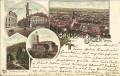 NÖ: Gruß aus Baden bei Wien Litho 1900 Cholera Kapelle, Eisenes Thor, Hauptplatz