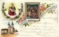 NÖ: Gruß aus Maria Lanzendorf Litho 1897 Inneres der Kirche, Maria, Jesus usw..