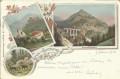 NÖ: Gruß vom Semmering Litho 1901 Weinzöttlwand, Ruine Klamm, Hirsche usw.