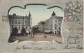 NÖ: Gruß aus St. Pölten 1903 Bahnhofplatz Jugendstil Motiv Karte