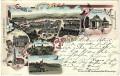 OÖ: Gruß aus Bad Hall Litho 1900 Schloss Feyregg, Tassilo Quelle, Theater usw...