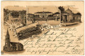 OÖ: Gruß aus Bad Hall Litho 1897 Trinkhalle, Promenade, Quelle, Kirche usw...