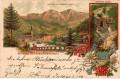 OÖ: Gruß aus Lauffen bei Ischl Litho 1893 ( Vorläufer ) Chorinsky Klause