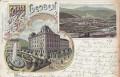 OÖ: Gruß aus Leoben Litho 1899 Hotel Gärger, Carner, Hochstrahlbrunnen usw..