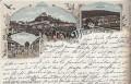 OÖ: Gruß aus Wolfsegg Litho 1897 Kohlgrube, Marktplatz usw.. ( Irrläufer )