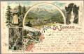 Salzburg: Gruß aus St. Johann im Pongau Litho 1896 Liechtenstein Klamm usw.