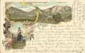 Steiermark: Gruß aus Alt - Aussee Litho 1897 Loser, Trisselwand, Trachten, Bergsteigen ..  ( Correspondenz Tittel Komponist )