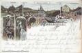 Steiermark: Gruß aus Mariazell Litho 1898 Wasserfälle, Wienerneustädtergasse usw