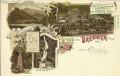 Tirol: Gruß vom Brenner Litho 1899 Goethe Kopf, Etzel Denkmal, Wasserfall usw.