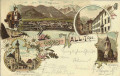 Tirol: Gruß aus Hall in Tirol Litho 1898 K.K. Kaserne, Münzthurm, Jäger usw..