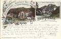 Tirol: Gruß aus Bad Neu Prags Litho 1897 bei Niederdorf im Pusterthal Gasthof, K.K. Post und Telegrafenamt  ( Correspondenz Tittel Komponist )