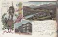 Tirol: Gruß aus Innsbruck Litho 1899 Andreas Hofer Denkmal am Berge Isel mit Nachporto 1 + 3 Kreuzer