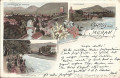 Tirol: Gruß aus Meran Litho 1897 ( Südtirol ) Zendburg, Wandelbahn, Giselapromenade ( Correspondenz Tittel Komponist )